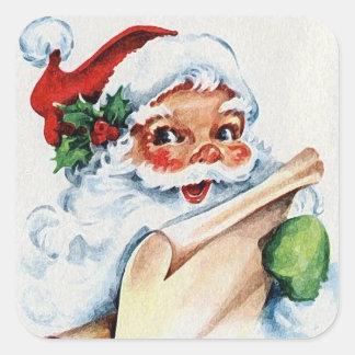 Vintage Jolly Santa Claus Naughty & Nice List Square Sticker