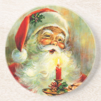 Vintage Jolly Santa with Candle Coaster