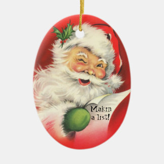 Vintage Jolly Winking Santa  Christmas-Ornament Ceramic Oval Decoration