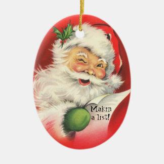 Vintage Jolly Winking Santa  Christmas-Ornament Ceramic Oval Decoration