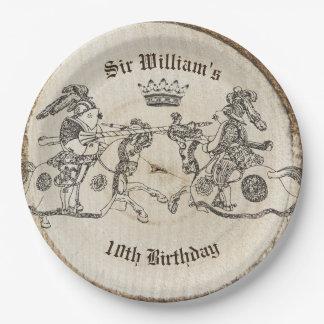 Vintage Jousting Knights Crown Paper Plates
