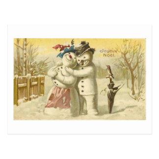 Vintage Joyeux Noel Snowman & Woman Card Postcards