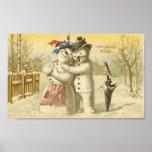 Vintage Joyeux Noel Snowman & Woman Card Poster