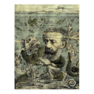 Vintage Jules Verne Periodical Cover Postcard