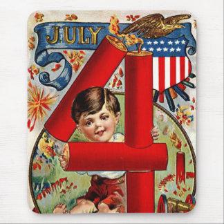 Vintage July Fourth Fireworks Mouse Mat