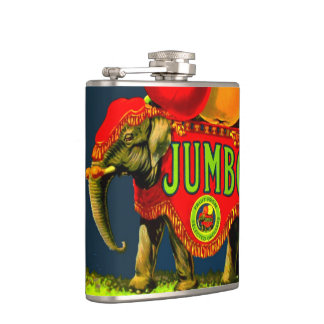 Vintage Jumbo Circus Elephant Fruit Label Flask