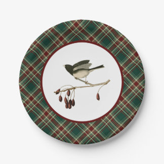 Vintage Junco with Christmas Plaid Paper Plates 7 Inch Paper Plate