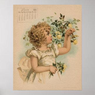 Vintage June 1891 beautiful children drawing Poster