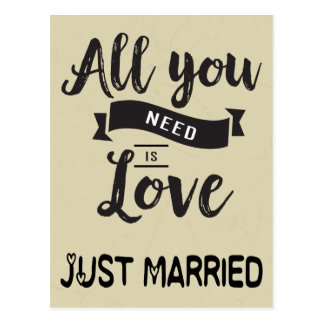 Vintage Just Married Tan & Black Wedding Love Postcard