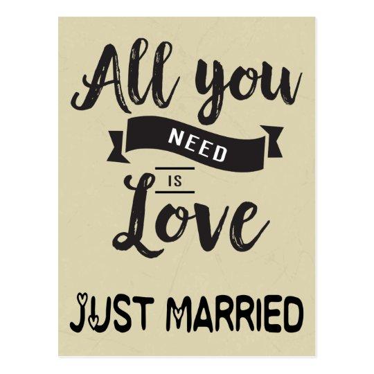 Vintage Just Married Tan & Black Wedding Love
