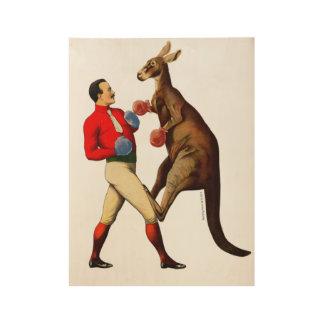Vintage Kangaroo Boxer Boxing Sport Wood Poster