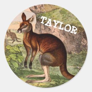 Vintage kangaroo with name classic round sticker