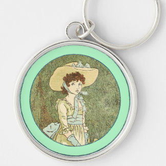 Vintage Kate Greenaway Book Illustration Silver-Colored Round Key Ring