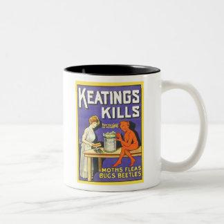 Vintage Keatings Kills Insecticide Two-Tone Coffee Mug