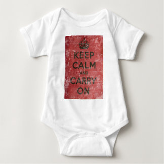 Vintage Keep Calm And Carry On Baby Bodysuit