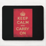 Vintage Keep Calm And Carry On Mouse Pads