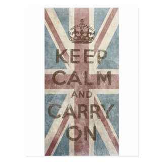 Vintage Keep Calm And Carry On Post Card