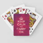 Vintage keep calm and carry on - red playing cards