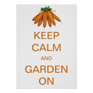 Vintage Keep Calm and Garden On Carrots Poster