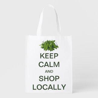 Vintage Keep Calm and Shop Locally Reusable Grocery Bag