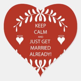 Vintage KEEP CALM GET MARRIED Already Heart Sticker