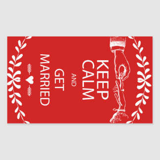 Vintage KEEP CALM  GET MARRIED Rectangular Sticker