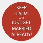 Vintage KEEP CALM  GET MARRIED Round Stickers