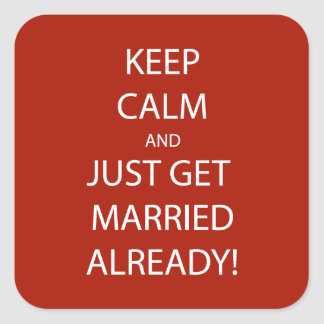 Vintage KEEP CALM  GET MARRIED Square Sticker