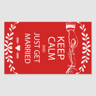 Vintage KEEP CALM GET MARRIED Rectangle Sticker