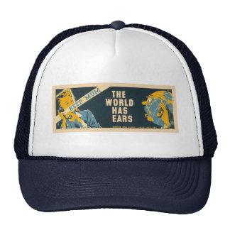 """Vintage """"Keep Mum"""" hat - choose color"""