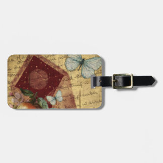 Vintage Keepsake Butterfly Collage Luggage Tag