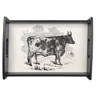 Vintage Kerry Cow Personalized Bull Illustration Serving Trays