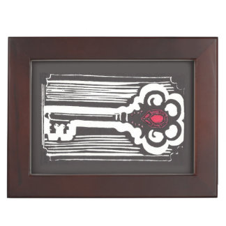 Vintage Key Print Keepsake Box