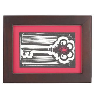 Vintage Key Print with Ruby Keepsake Box