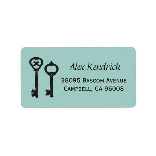 Vintage Keys Labels - Mint Blue