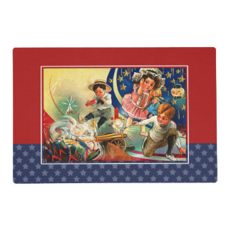 Vintage Kids 4th of July Party Placemats Laminated Place Mat
