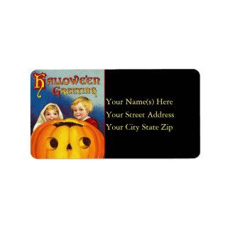 Vintage Kids and Pumpkin Halloween Address Label