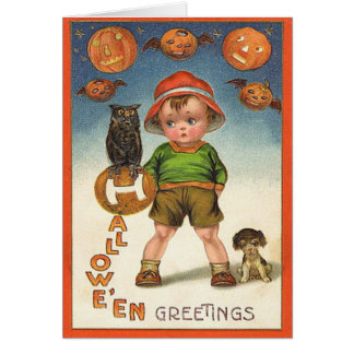 Vintage Kids Halloween Card, Black Cat and a Kid Card