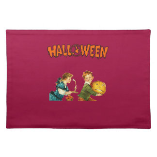 Vintage kids playing in Halloween Place Mats