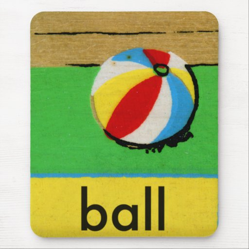 Vintage Kids Spelling Alphabet B is for Ball Mouse Pad
