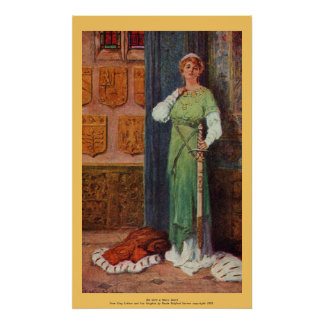 Vintage - King Arthur - Lady with Sword Poster