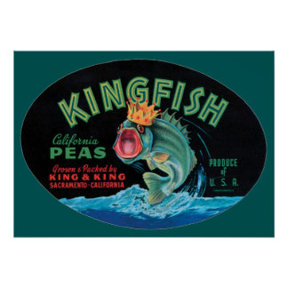 Vintage Kingfish Peas Crate Label Poster