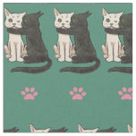 Vintage Kissing Cats Pink Paws Fabric
