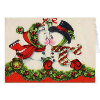Vintage Kissing Couple Christmas Card