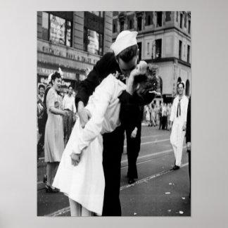 Vintage Kissing Couple.Hug Kiss Poster