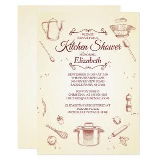 Vintage Kitchen Bridal Shower Invitation