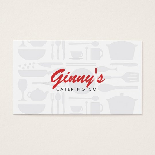 VINTAGE KITCHEN COLLAGE in WHITE for CHEF, CATERER Business Card