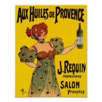Vintage Kitchen Decor French Label Olive Oil Poster
