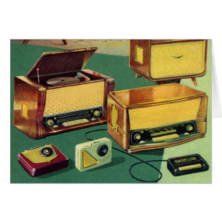 Vintage Kitsch 50s High Fidelity Stereo TV Sets Card