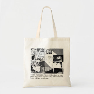 Vintage Kitsch 60s Color TV Ad Suburbs Wife Budget Tote Bag